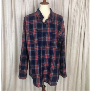 Old Navy Red Blue Plaid Button Shirt Sz XL
